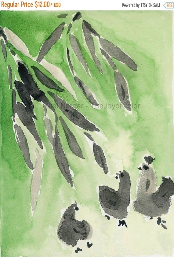 Holiday sale Bamboo and  Hens Art Print, chickens art print, ink and watercolor, Peridot Green, nursery decor. farm, Japanese inspired print