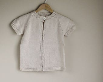 Child Cotton Sweater, Knitted sweater, Pima cotton cargidan, child cardigan, child sweater, heirloom wear, cool weather wear