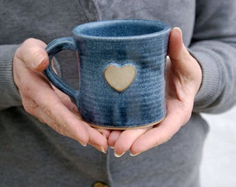 Set of two heart mugs glazed in smokey blue - hand thrown stoneware pottery