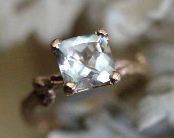 Aquamarine 14K Gold Ring, Aquamarine Gemstone Twig Ring, Aquamarine Stone, Aquamarine Crystal, Aquamarine Ring, Recycled - Made To Order