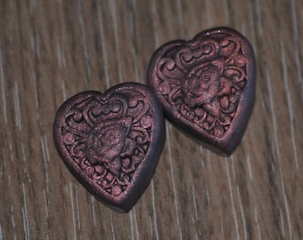 Hand made molded heart shaped flower shank buttons - Copper and Navy Blue heart buttons - OOAk Set of 2 buttons