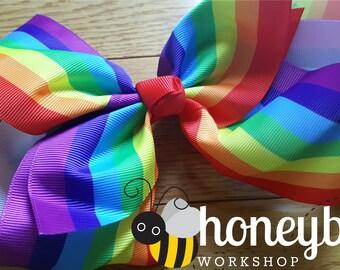 beautiful rainbow bow - rainbow baby, pride baby, promise rainbow baby girl ott bow - baby shower gift