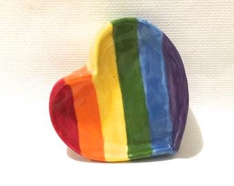 Rainbow Heart Dish, Hand-Built Heart Pottery