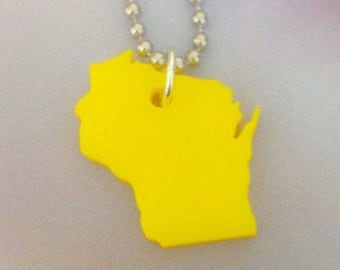 Shape of Wisconsin Necklace, State Jewelry, Small Yellow Laser Cut Acrylic Plastic