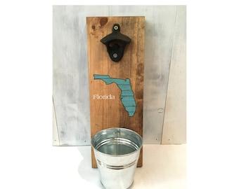 bottle opener, Florida bottle opener, groomsmen gift, Father's Day gift, reclaimed wood, beer, Florida decor, housewarming, gift for him