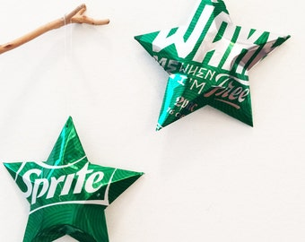 Sprite Stars Wake Me When I'm Free Quote, 2Pac Christmas Ornaments Soda Can Upcycled