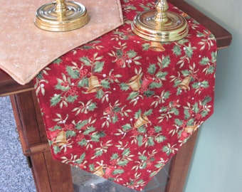 "Red and Gold Table Runner 54"" Reversible Christmas Bells Table Runner Gold Snowflake Table Runner Holly Table Runner Christmas Table Decor"
