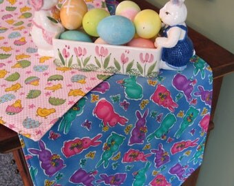 "Easter Chicks and BunniesTable Runner 54"" Reversible Easter Table Runner Baby Chicks Table Runner Easter Bunny Table Runner Easter decor"