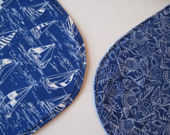 Oval Blue Sailboat Shell Placemats Reversible 4 or 6 Blue Nautical Oval Placemats White and Blue Placemats Blue Kitchen Table Decor