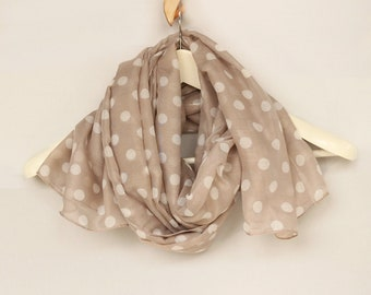 Beige Spring Scarf, Misty Powder Polka Dot Lightweight Shawl, Pastel Beach Cover-up Pareo Top Soft Touch Summer Stole, Trendy Scarf