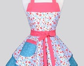 Ruffled Retro Womans Apron - Pink and Blue Floral Cute Vintage Style Pin Up Kitchen Apron with Pockets to Personalize or Monogram