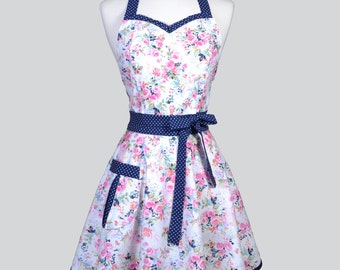 Sweetheart Womens Retro Apron . Pink Spring Floral Navy Swiss Dot Cute and Flirty Womans Hostess or Wedding