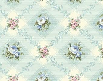 Ruru Bouquet Love Rose Love Cotton Fabric Rose ru2300-12c Roses on Blue
