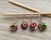 Unicorn poop stitch markers - Rainbow - Glitter - Progress keeper - Set of 5- Crochet - Knitting - Notions