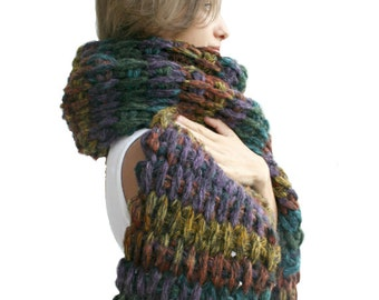 Hand Crochet Mixed Colors Wool Big Extra Long Scarf / Perfect Gift For Mother / Gift for Her