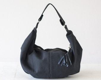 Blue canvas bag, hobo purse cotton everyday bag small shoulder bag slouchy purse hobo purse women bag small womens bag - Mini Kallia bag