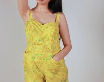 Vintage Yellow Watercolor Print Romper Swimsuit