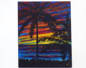 Brightly colored tropical ocean sunset with bold colored clouds, palm tree silhouettes on a 16x20 vertical painting, colorful beach decor
