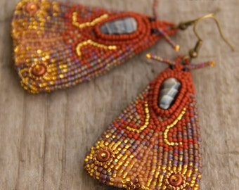 Bead Embroidered Moth Earrings
