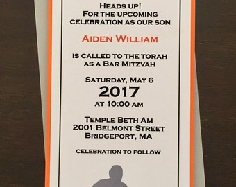 Basketball Bar Mitzvah Invitation set with reply