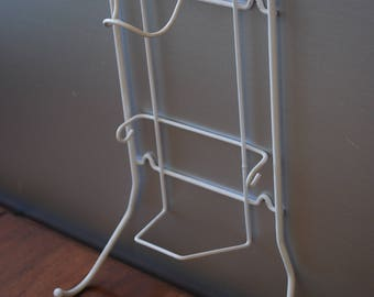 Vintage Mid Century Steam Iron and Ironing Board Storage Rack - Wall Mount - Vintage White Rack