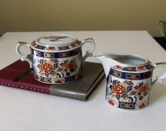 Asian Inspired Creamer and Sugar.. Japan Made Cream and Sugar Bowl..Floral Patterned Porcelain Cream and Sugar