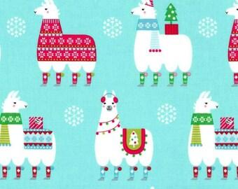 Michael Miller - Llama Navidad Collection - Llama Navidad in Aqua