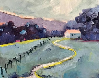 MORNING HAS BROKEN - 12 x 12 - Original Oil Painting - Cottage Chic Decor - Honeystreasures - Wall Art - Home Decor - Purple - Landscape