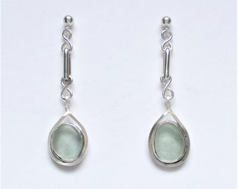 Sea Glass Jewelry - Sterling Seafoam Sea Glass Post Earrings