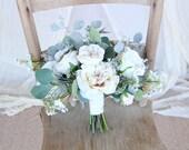 Loose Wedding Bouquet | Wispy Wild Silk Flowers Wedding Bouquet | White and Cream Vintage Style | SG-1008