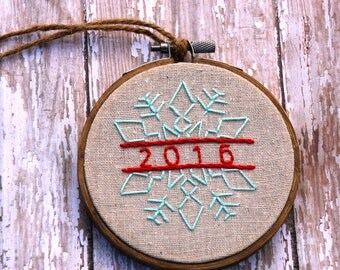 Christams Ornament, Snowflake, 2016, Holiday Decor, Christmas Embroidery