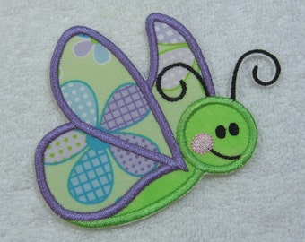 Baby Butterfly Fabric Embroidered Iron On Applique Patch Ready to Ship