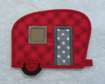 Camper Trailer Glamping Fabric Embroidered Iron On Applique Patch Ready to Ship