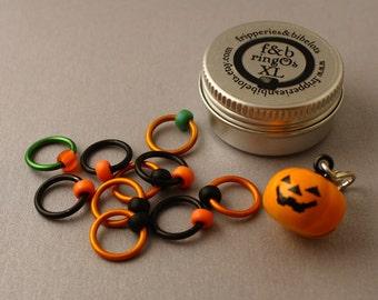 ringOs XL Jack O'Lantern - Snag-Free Ring Stitch Markers for Knitting