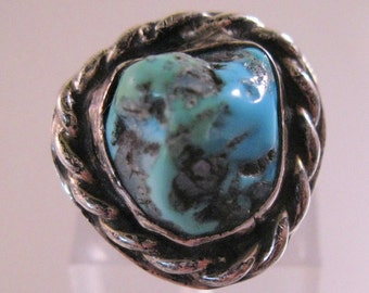 Native American Turquoise Nugget Ring Sterling Silver Size 5 Vintage Jewelry Jewellery