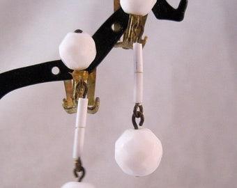 SALE Now On Ends 4/3/17 Milk Glass Drop Dangle Earrings Clip On 1950s Vintage Jewelry Jewellery