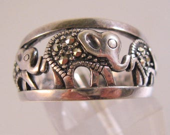 Vintage Elephant Marcasite Sterling Silver Band Ring Open Work Size 7 Signed NV Estate Jewelry Jewellery
