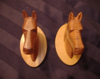 "Pair of Vintage Handmade, Carved Wooden Horse Heads. Miniature. Signed and Dated. 3"" x 3"" Whittled by someone's Grampy!"