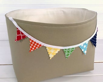 Organizer Basket Fabric Bin,Storage Bin,Nursery Decor,Fabric Basket,Bunting,Home Decor,Rainbow,Khaki,Banner