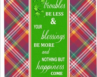 Irish Blessing Sign in Emerald Green with Inspirational Poem, Irish Bar Decor, Irish Quote PM554