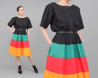 NED GOULD 80s Striped Dress Color Block Dress 50s Style Retro Circle Skirt Full Midi Dress Belted Dress Black Green Red Small Medium S M