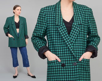 80s Checkered Jacket, Vintage Wool Blazer, 1980s Preppy Coat, Double Breasted Suit Jacket Green Black S M