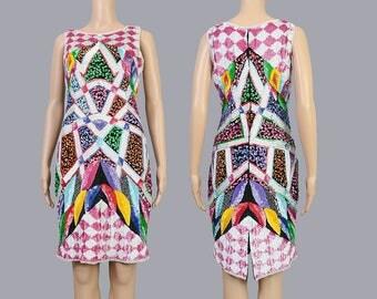 Vintage 80s Geometric Beaded Dress | Pop Art Sequin Dress | Fitted Wiggle Party Dress | 1980s Sequined Art Deco Trophy Dress | Medium M