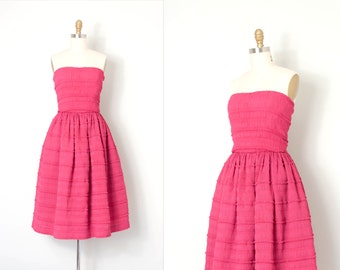 vintage 1970s dress / strapless Victor Costa 70s dress / pink party dress (extra small xs)