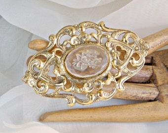 Vintage 80s Brooch Etched Glass Cabochon Goldtone Openwork