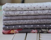 6 Fat quarter bundle POETRY by Three Sisters ... MODA Fabirc  Stone and Charcoal grey colorways