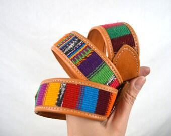 Vintage Leather Guatemalan Rainbow Tooled Woven Fabric Belt