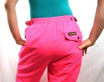 Vintage 80s Neon Pink Columbia Ski Snowboard Pants