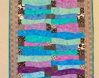 Vibrant Turquoise, Purple, Black and White Table Runner