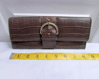 Nice & Chic Vintage Brown Buckled Croco Embossed Faux Leather Long Wallet Clutch, Currency Coin Ids Credit Cards Compartments